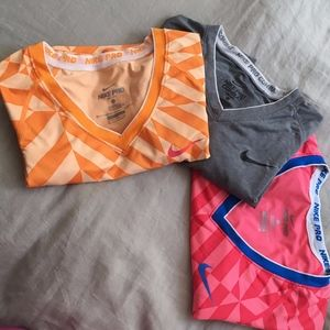 LOT of 3 Nike Pro T Shirts Small and XSmall